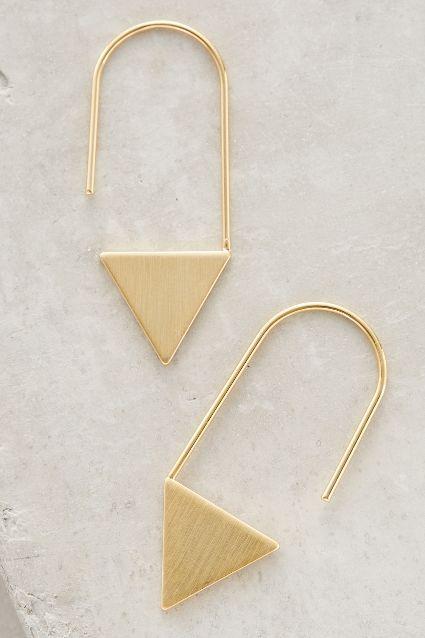 Brushed Triangle Earrings