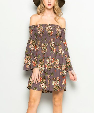 This Gray Floral Bell-Sleeve Off-Shoulder Dress is perfect! #zulilyfinds