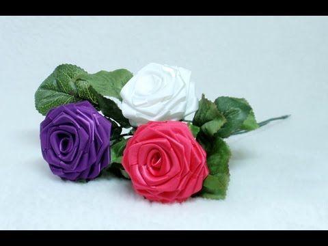 How to make Ribbon Rose, Taller, Tutorial, DIY - YouTube