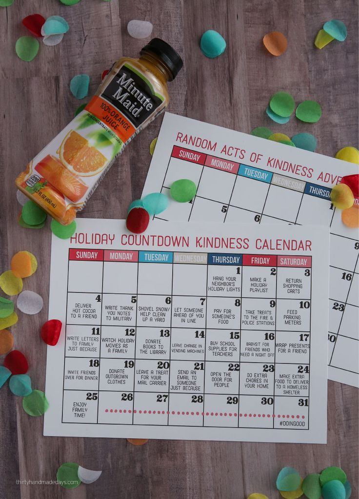 Holidays: Kindness Countdown Calendar - make the holidays really special this year by getting your family involved in random acts of kindness. Part of the the #doingood campaign with Minute Maid from thirtyhandmadedays.com