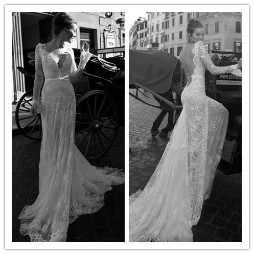 Most beautiful sexy designer tulle lace deep v neck for Most beautiful long sleeve wedding dresses