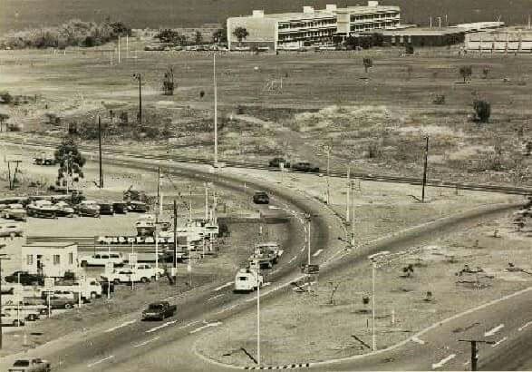 View from water tower, Wilkinson Street and Goyder Road. Shows Goyder Road, Gilruth Avenue intersection. Darwin High School on point.1978