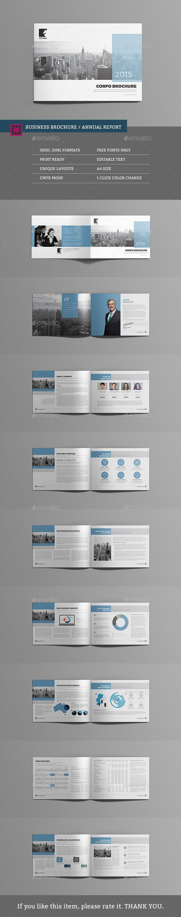Business Brochure / Annual Report Template InDesign INDD #design Download: http://graphicriver.net/item/business-brochure-annual-report/13695835?ref=ksioks
