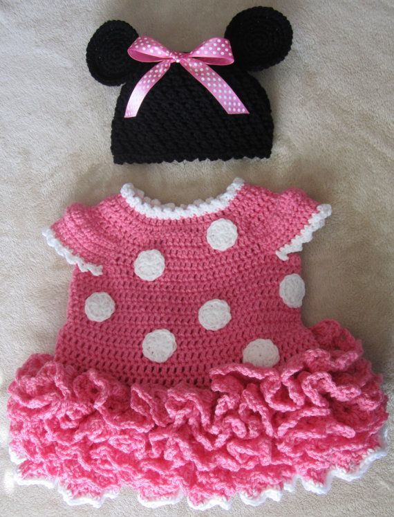 Minnie Mouse Crochet Dress and Ears in Pink by JuliesCrochet33, $45.00