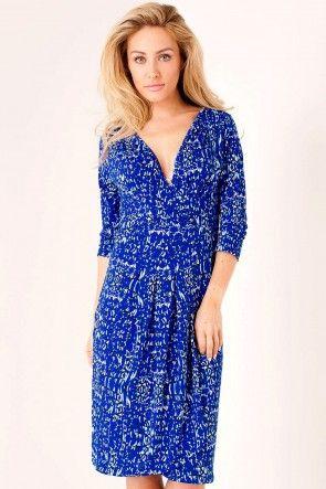 Laura Wrap Jersey Dress in Blue