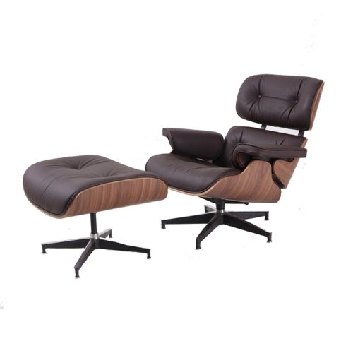 Aluminum Alloy Base Dark Brown Genuine Leather Eames Chair With Ottoman |  Level8plaza Https:/