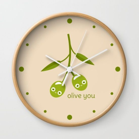 Olive You Wall Clock - pun, puns, olive, olives, branch, peace, fruit, food, funny, cute, love, relationship, tasteful, tasty, relationships, valentine, valentines, vector, art, illustration, drawing, design