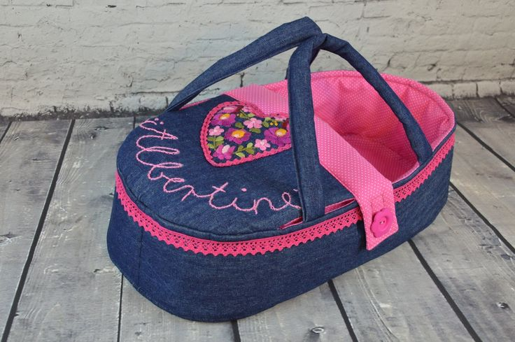 doll carrier, bassinet, doll bed - waldorf toy - personalized - only for dolls - blue rosa - denim - hand embroidered - heart by BagitKid on Etsy