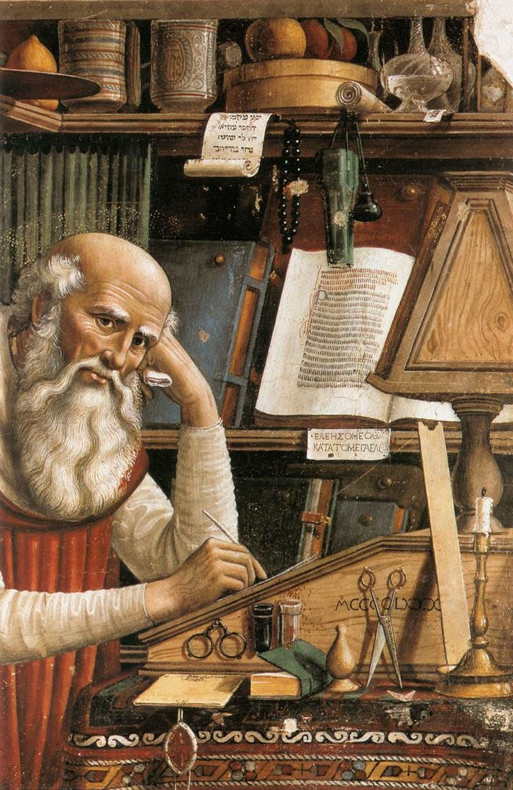 St Jerome in his Study (detail),1480,  Fresco, Ognissanti, Florence  by Domenico Ghirlandaio (b. 1449, Firenze, d. 1494, Firenze)
