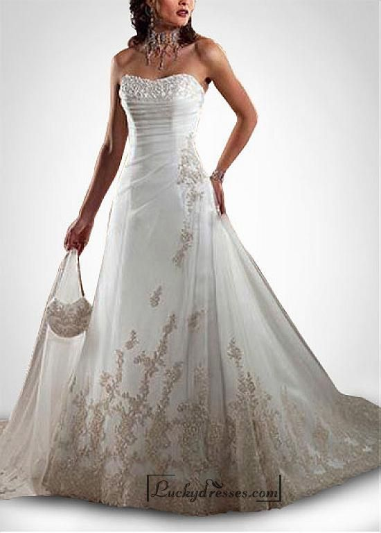 Beautiful Elegant Tulle A-line Sweetheart Wedding Dress In Great Handwork