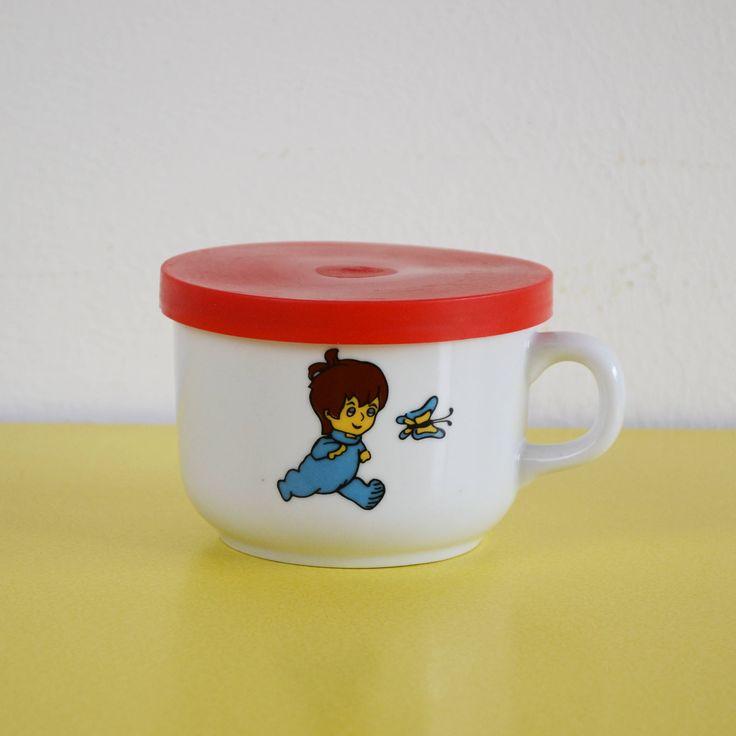 Vintage Children's Mug, Retro Kids Ceramic Mug With Lid, Plastic Lidded Ceramic Mug, Children's Retro Lidded Tea Cup, Lidded Mug by LittleYellowTable on Etsy