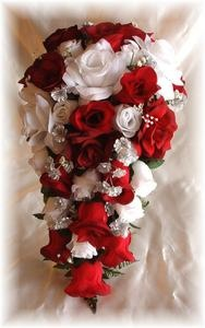This Will be my bouquet!! 2pc Wedding Bouquet Silk Bridal Flowers Apple Red White Silver