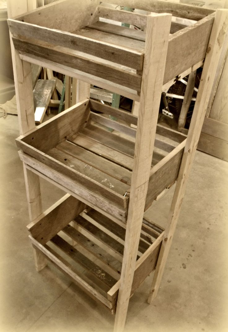 Apple crate display stand from old floor boards, lathe and barn wood - for more ideas visit Rebecca Rae's Boutique on Facebook