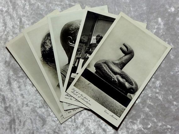 5 Cairo Museum Real Photo RPPC Postcards, Vintage Lehnert Landrock Lot, Mummy Snake Sculptures Dwarf Prince Princess Ramses, African Egyptian by OakwoodView, $15.00