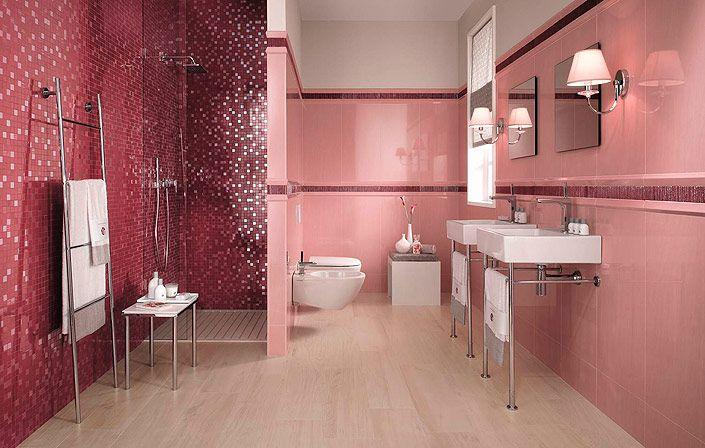 """РОЗОВАЯ ВАННАЯ КОМНАТА. Определенно, розовый цвет в дизайне интерьера популярен именно среди женщин: мягкие тона розового цвета создают особую """"девичью"""" атмосферу. Поэтому, заказывая ремонт ванной комнаты, попробуйте рассмотреть и такие варианты, ведь пудровые оттенки розового подойдут дамам любого возраста, от самых маленьких девочек, до пожилых леди."""