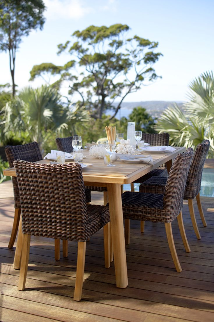 Eco Outdoor Waratah dining table shown with Kona dining chair. Outdoor furniture | livelifeoutdoors | Patio furniture | Outdoor dining | Teak outdoor | Outdoor design | Outdoor style | Outdoor luxury | Designer outdoor furniture | Outdoor design inspiration | Pool side furniture | Outdoor ideas | Luxury homes