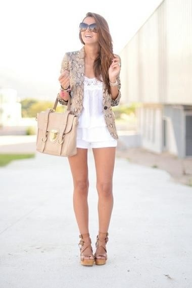blazer. Minis, White Shorts, Summeroutfit, Fashion, Style, Summer Outfits, Cute Outfit, Spring Outfit, Summer Clothing