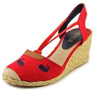Lauren Ralph Lauren Cala Women Open Toe Canvas Red Wedge Heel.