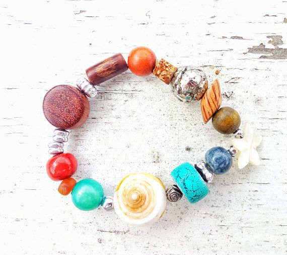 Summer Fun Bracelet Brown Wood Bracelet Beach Boho Jewelry