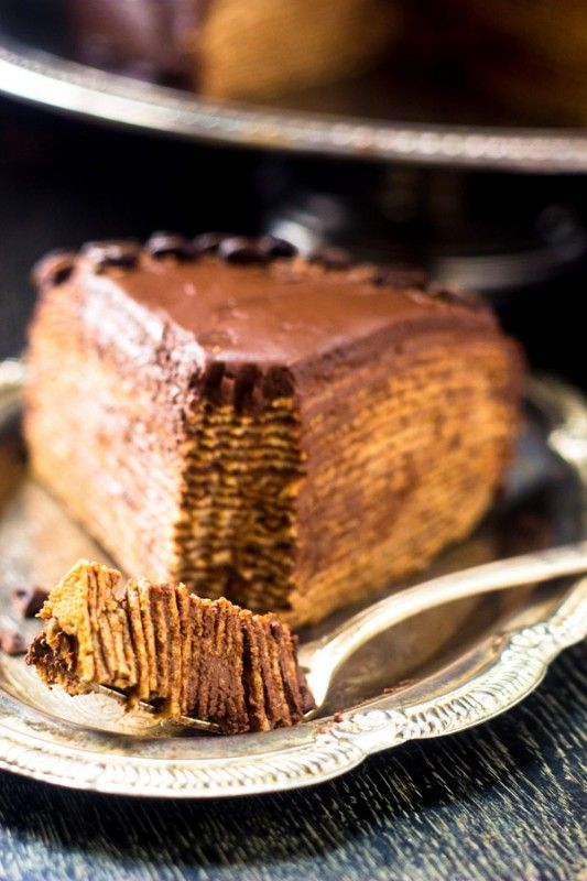 Crepe Cake with Baileys Coffee Creamer Chocolate Ganache {Whole Wheat}