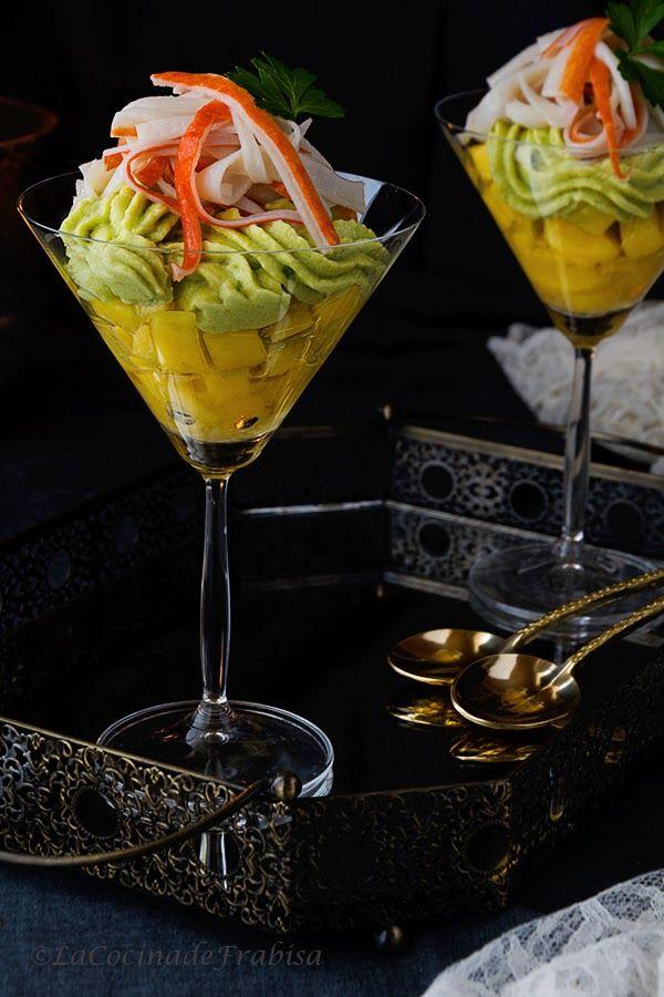 La cocina de Frabisa: Aperitivo o Entrante de Mango fresco con Mousse de Aguacate y Surimi en Copa