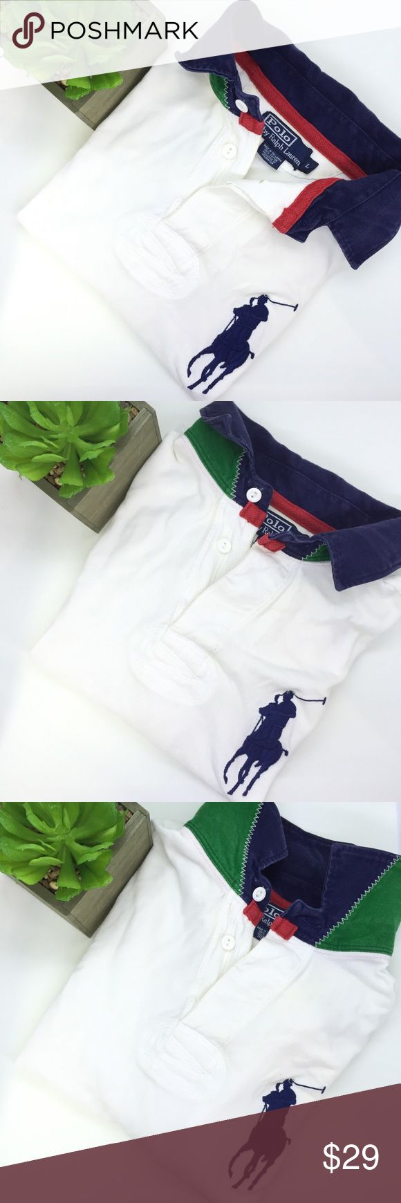 """Rare!! Polo Ralph Lauren large big polo shirt 23"""" chest measurements , great condition, bundle & save , or ask for additional discount, we add new inventory everyday, also most clothes we sell are pre loved which might have some signs of use , unless noted otherwise that's it's new or like new or has flaws Polo by Ralph Lauren Shirts Polos"""