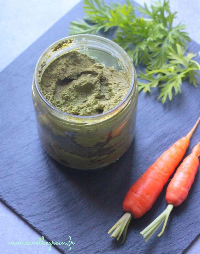 Pesto de fanes de carottes. Oui les fanes des légumes sont comestibles et elles peuvent se transformer en de délicieux mets: Testez cette recette de pesto !