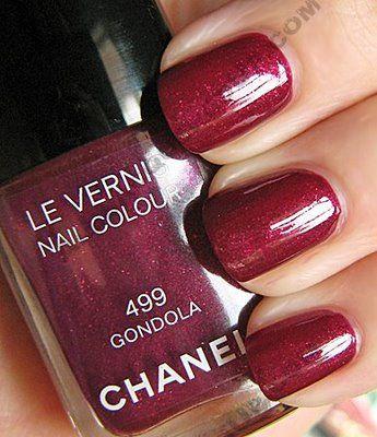 Maroon nail polish.