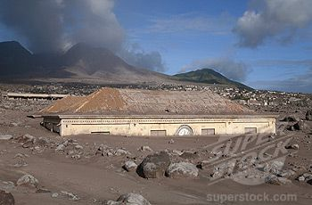 Part of the devastating effects of the volcano in montserrat