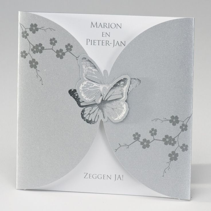 Zilverkleurige pochette met vlinders in zilverfolie