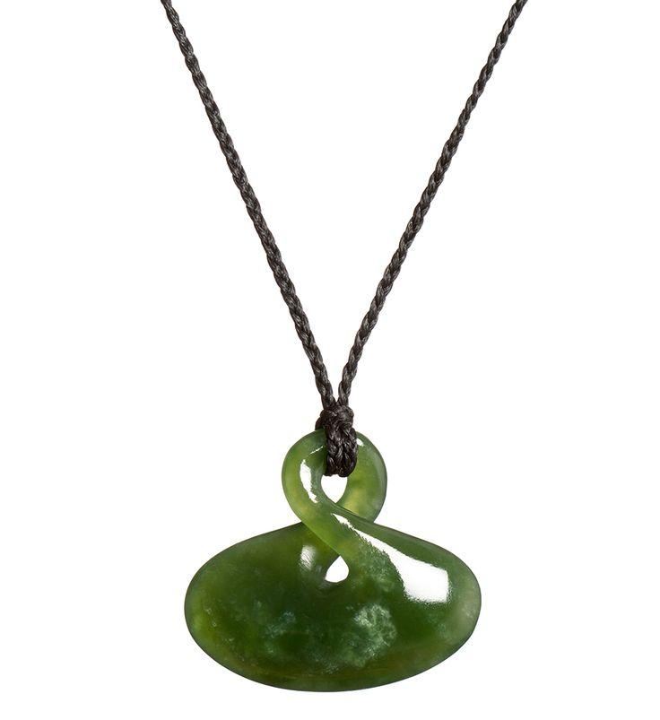 Mottled NZ Greenstone Single Twist Necklace : Mountain Jade New Zealand