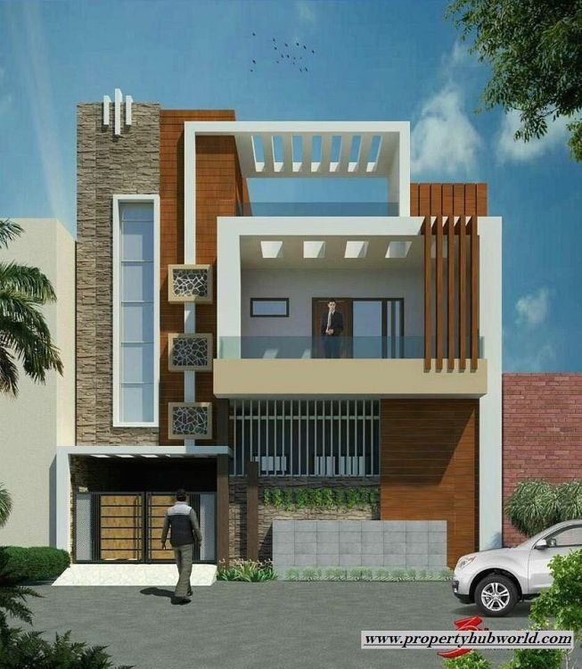 Modern House Plan With Zen Type Two Storey House Design With 2019 House Paint Trends Exterior In 2020 House Elevation Small House Elevation Design Village House Design