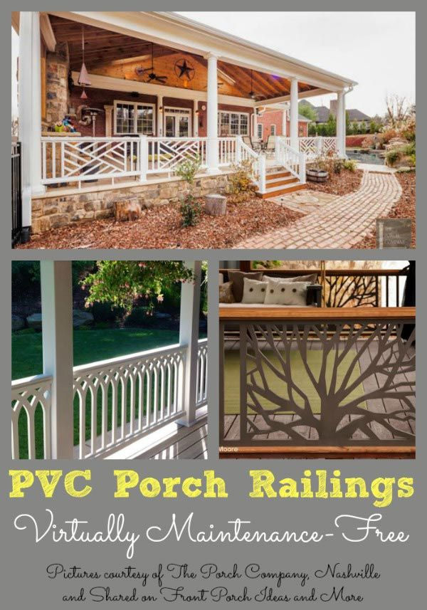 Just imagine not needing to paint your porch railings.  These lovely PVC railings are virtually maintenance-free.  And beautiful, too! You can get them at The Porch Company. Shared on Front Porch Ideas and More.