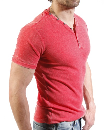 Projek Raw S/S Henley in Coral - VIEW 2