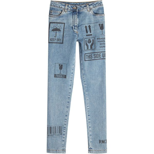 Moschino Printed Skinny Jeans (1.590 BRL) ❤ liked on Polyvore featuring jeans, bottoms, pants, blue, print skinny jeans, print jeans, skinny leg jeans, light wash jeans and slim fit skinny jeans