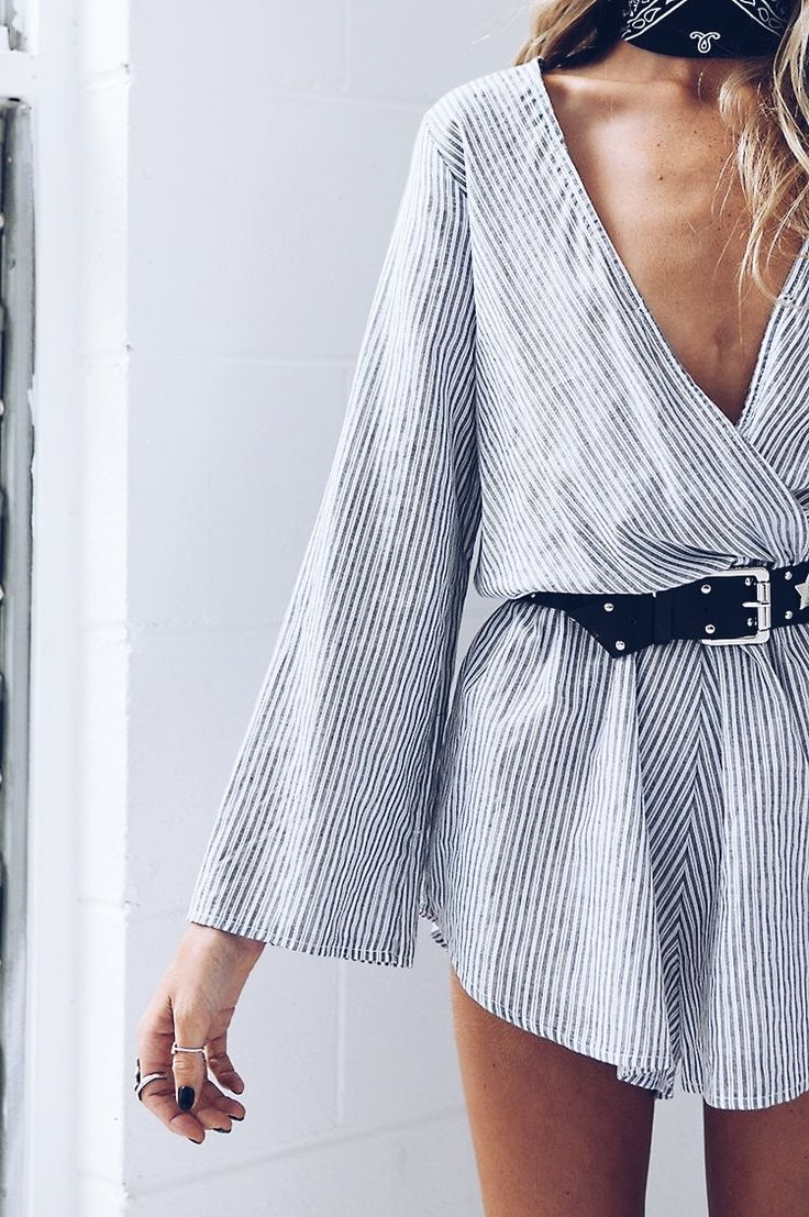 blue and white striped romper with belt. summer outfit.