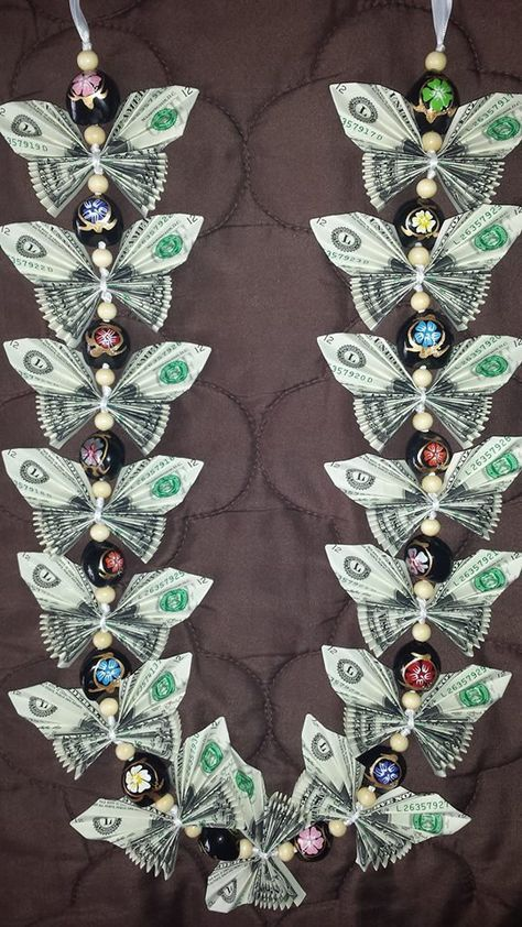 Butterfly money lei by Alloccasionsmoneylei on Etsy