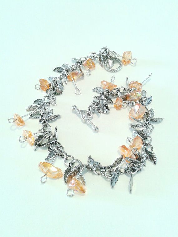 Fairy Ring Silver and Orange Glass Bead Leaf by ofRingAndScale