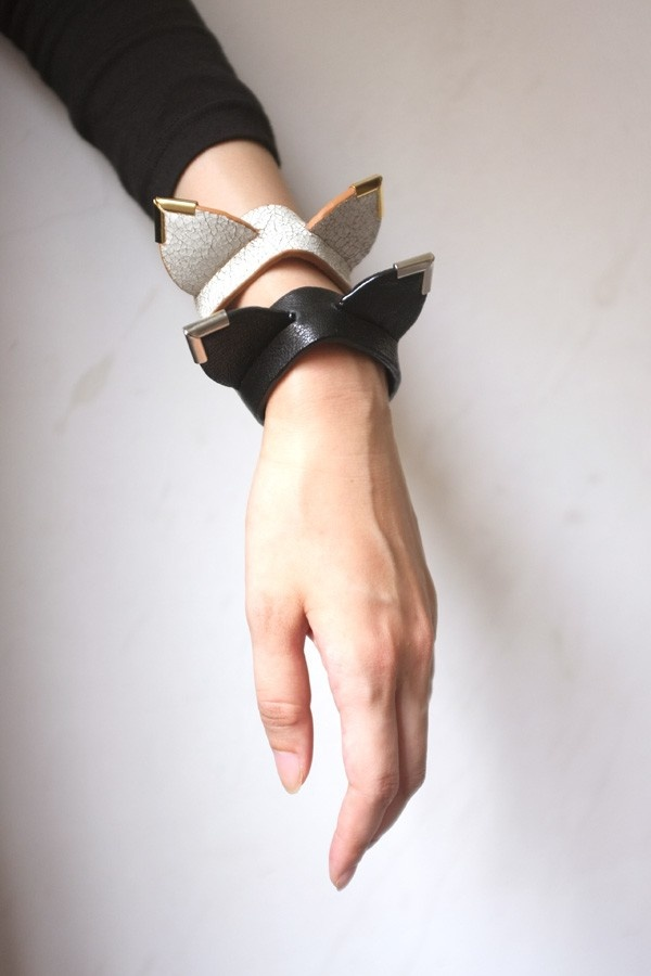 Mouse Ears Leather Bracelet - White