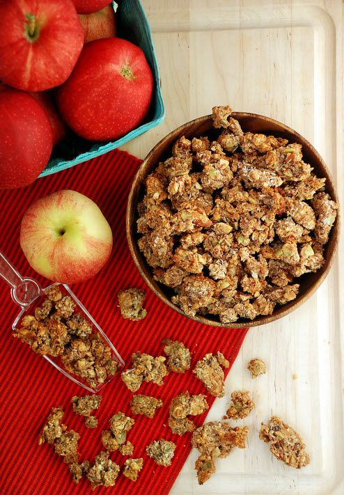 Apple Pie Paleo Granola from @Heather (Multiply Delicious). Use honey instead of maple syrup.