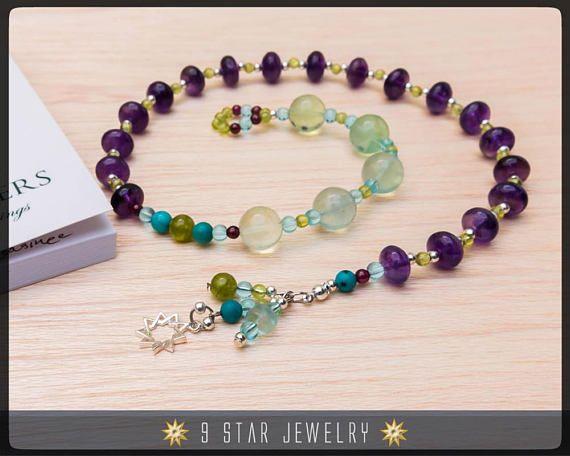 Amethyst & Peridot w/ 925 Sterling Silver bahai 9 Star 5x19 Baha'i Prayer Beads
