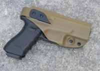G Code XST RTI Kydex Holster. Springfield Armory XDM 4.5, Right handed, Coyote tan, Black Anodized RTI Finish.