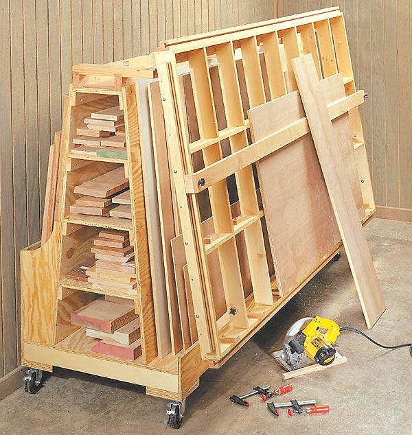 rolling lumber storage cart woodworking projects plans