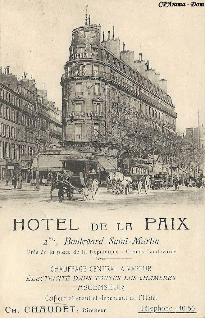 Hôtel de la Paix vers 1900.