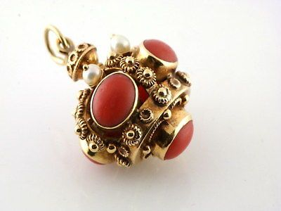 ANTIQUE ETRUSCAN CORAL & PEARL 18KT YELLOW GOLD BALL FOB CHARM