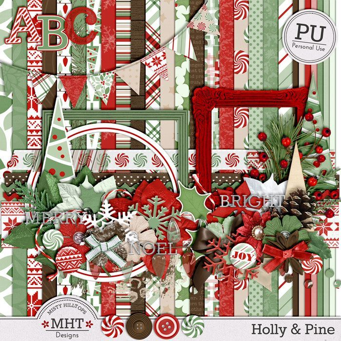 freebie, mistyhilltops.com, digital scrapbooking, christmas, holly & pine