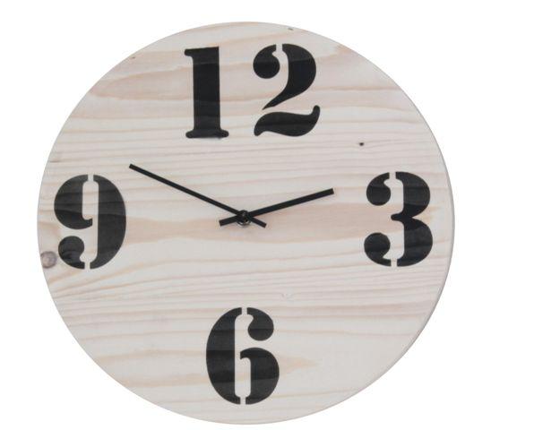 Grenen klok rond 26 cm  white wash http://www.braceletshop.nl/webshop/overige-categorieen/houten-klokken/