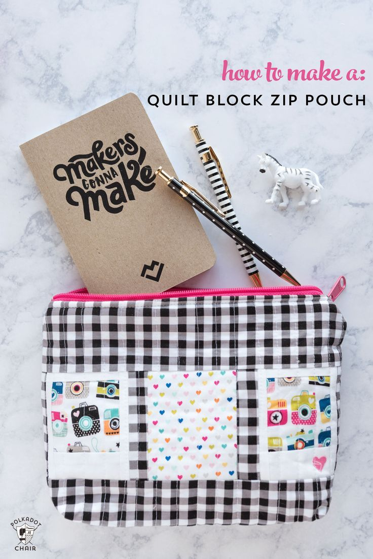 Learn how to make a quilt block zip pouch using any type of small quilt blocks. A free quilt tutorial for a polaroid quilt block zip pouch.