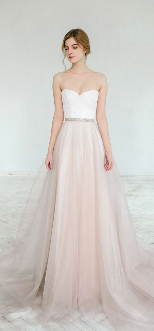 Blush pink tulle wedding dresses
