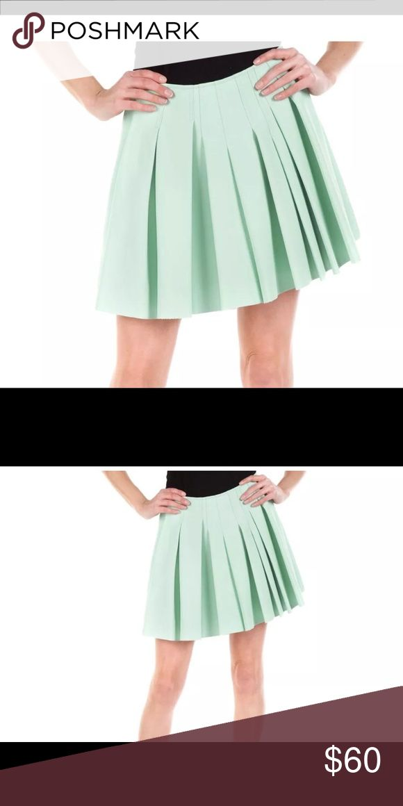 Sam Edelman Pleated Mint Green Faux Leather Skirt Sam Edelman Pleated Mint Green Faux Leather Mini Skirt, Size 10  • Stylish mini skirt brightens up your look with its pleated waistband and flirty silhouette  • Accented with an exposed zipper closure at the back for a modern twist and effortless styling  • Fully lined  • 100% polyester  • Lining: 95% polyester / 5% spandex  • Spot clean with damp cloth Sam Edelman Skirts Mini